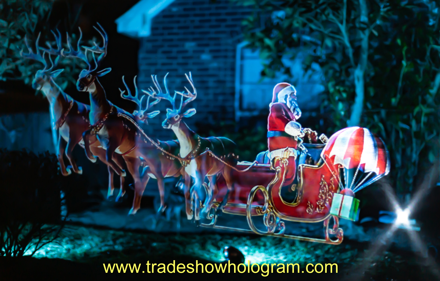 Texas, hologram, projection, christmas, outdoor, animated, santa