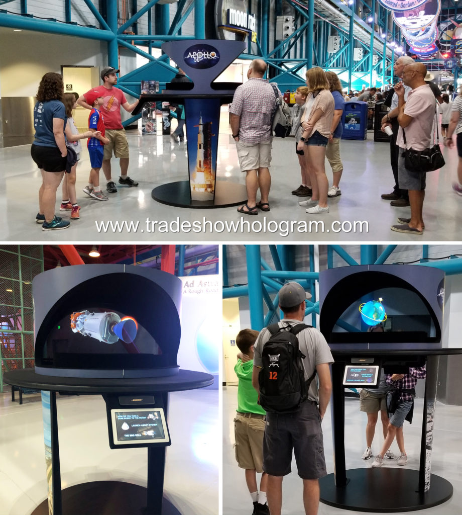Kennedy Space center visitors view holograms
