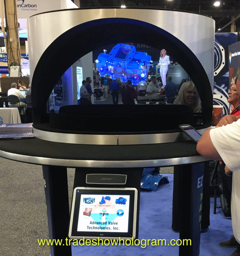 The dual sided hologram projector is considered the best hologram for trade shows. Rental or Sales