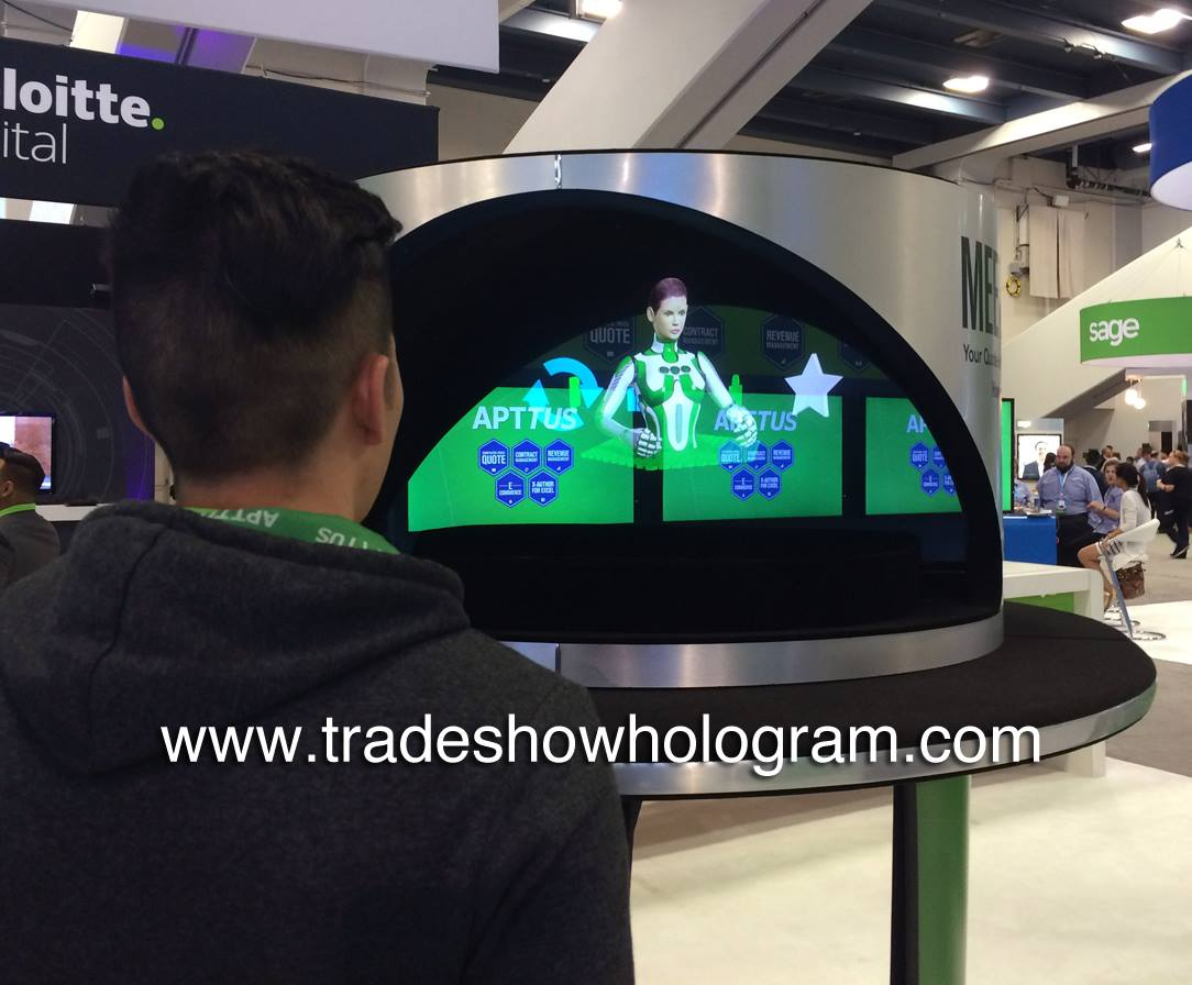Hologram Projector at Trade Show Exihibit.