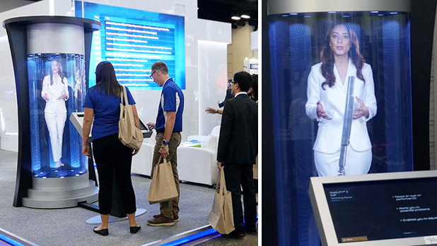 Life Sized Virtual Presenter Hologram at Trade Show